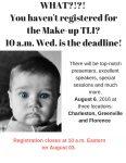Just Hours Left to Register for Make-up TLI
